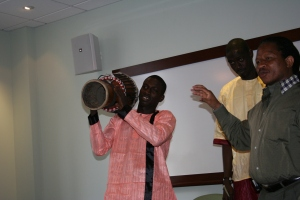 Aziz and Lamine Diallo explaining the sabar drum