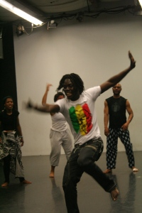 Yamagor Paa Seck dances in class.