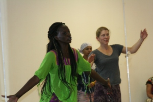 Nogaye teaching dance class at Originations Dance Studio, Roxbury, MA.