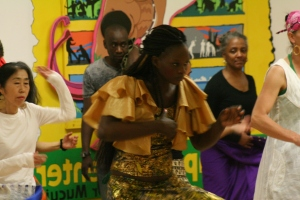 Nogaye teaching dance class for Babacar Mbaye in New York.