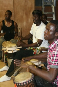 Malick and Moustapha play for Babacar Mbaye's dance class.