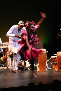Nogaye Ngom dances to the drums.
