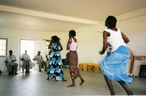 Students dance at first sabar dance workshop, Suffolk University Dakar Campus.